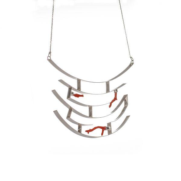 4.Necklace-silver & coral